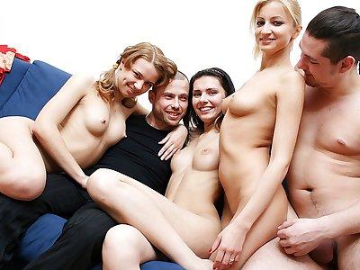 Sex-hungry mart pamper enjoys hot academy orgy